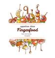 canape finger food hand drawn restaurant poster vector image vector image