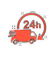 cartoon delivery truck 24h icon in comic style 24 vector image