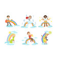 children playing musical instruments while sitting vector image vector image