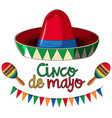cinco de mayo card template with red hat and vector image vector image