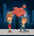 couple in love on the street at night vector image