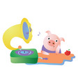 cute pig listens to the gramophone and dreams vector image