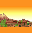 desert scene at sunset vector image