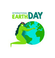 earth day card mother nature hugging planet vector image