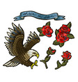 embroidery with roses and an eagle-symbol vector image
