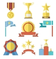 Flat Design Style Awards and Trophy Icons Set vector image
