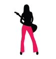 girl with guitar silhouette vector image vector image