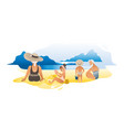 grandparents with their grandchildren on beach vector image