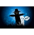 Halloween Background with Ghost and Scarecrow vector image