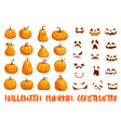 halloween pumpkin constructor with emotional faces vector image