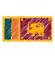 hand drawn national flag of sri lanka isolated on vector image vector image