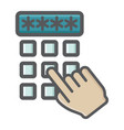 hand finger entering pin code colorful icon vector image vector image