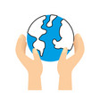 hands holding planet earth ecological vector image vector image