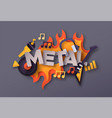 heavy metal rock music quote papercut musical icon vector image vector image