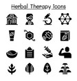 herbal therapy icon set vector image vector image