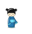 japanese doll sketch for your design vector image