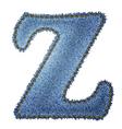 Jeans alphabet Denim letter Z vector image vector image