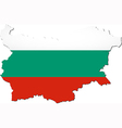 Map of Bulgaria with national flag vector image vector image