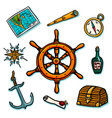 marine set shipboard equipment on a white vector image vector image