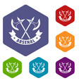 medieval axe icons hexahedron vector image