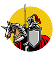Medieval Knight ride a horse vector image vector image