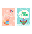 merry christmas greeting cards squirrel and owl vector image