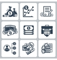 Money and bank icon set vector image vector image