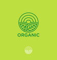 organic logo farmer products emblem leaves sun vector image