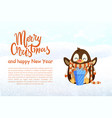 penguin in scarf with gift christmas and new year vector image vector image