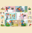 people and social network horizontal brochures vector image vector image