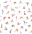 people exercising yoga seamless pattern vector image