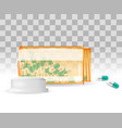 pills are spilling out of a bottle realistic vector image vector image