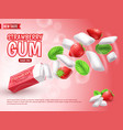 realistic chewing gum advertising composition vector image vector image