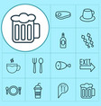 restaurant icons set with chicken leg silverware vector image vector image