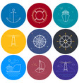 round maritime icons in line style vector image vector image