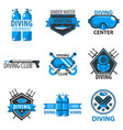 scuba diving center or underwater hunt club vector image vector image