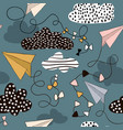 seamless pattern paper airplanes and clouds hand vector image