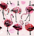 seamless watercolor pattern with flamingo birds vector image
