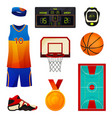 set basketball equipment sport icons vector image