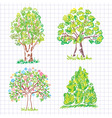 set of beautiful green trees vector image vector image