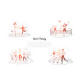 sport family - family skating playing football vector image vector image