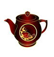 teapot of black and red porcelain gold ornament vector image vector image
