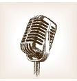 Vintage microphone hand drawn sketch style vector image