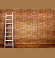 white ladder against and old a red brick wall vector image vector image
