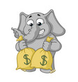 cartoon lot of money holds bags with money vector image