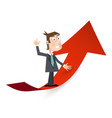man in suit on red arrow success and business vector image