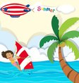 Woman surfing in the ocean vector image