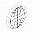 Earth globe emblem icon isometric 3d style vector image