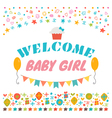 Welcome baby girl Announcement card Baby shower vector image