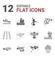 12 aviation icons vector image vector image